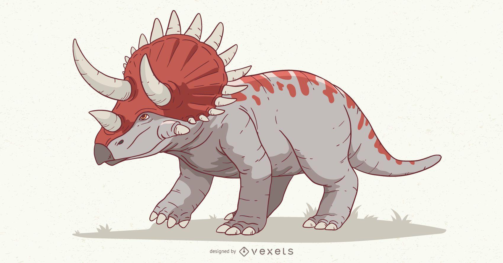 Ilustração de dinossauro triceratops