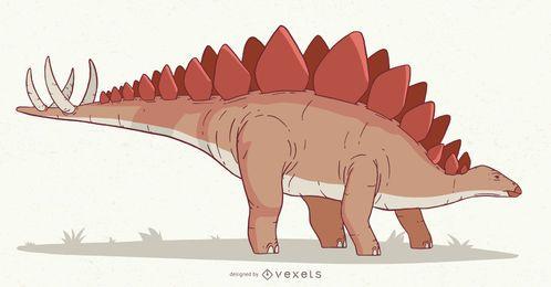 Ilustración de dinosaurio estegosaurio