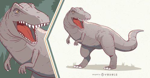 Ilustración de dinosaurio T-rex