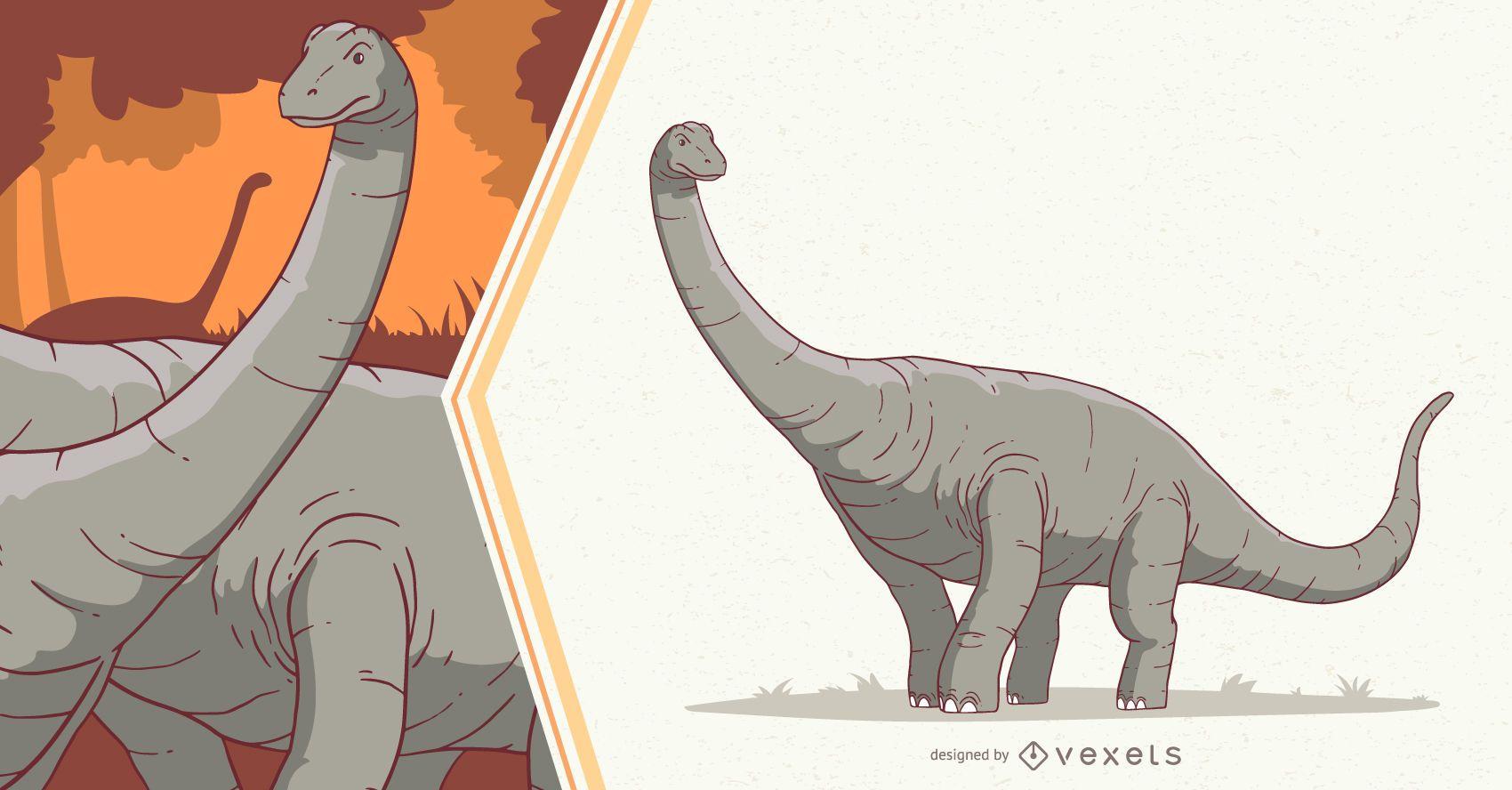 Ilustração de Dinossauro Diplodocus