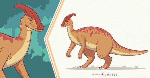 Ilustração de dinossauro Parasaurolophus