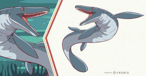 Ilustração de dinossauro Mosasaurus