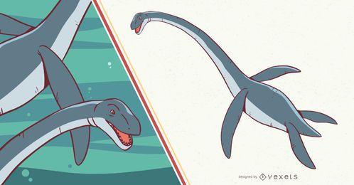 Ilustração de dinossauro Plesiosaurus