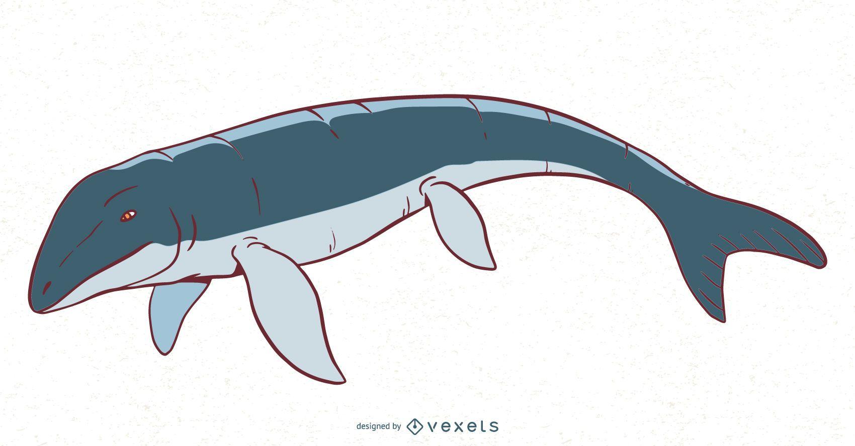 Ilustração do dinossauro Mosasaurus
