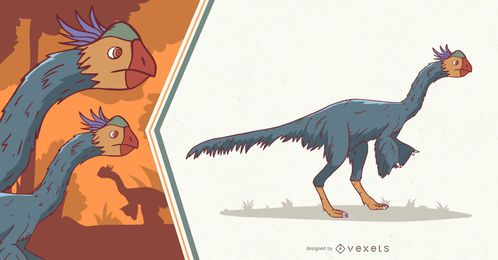 Ilustração de dinossauro emplumada