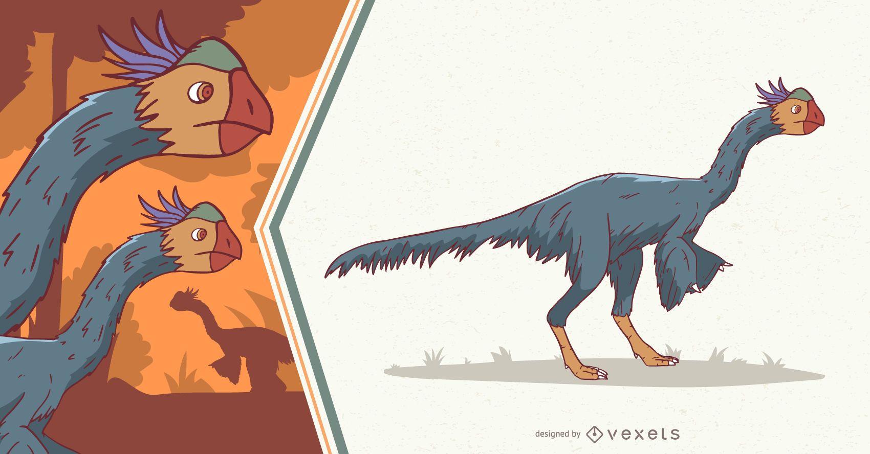 Ilustração de dinossauro com penas