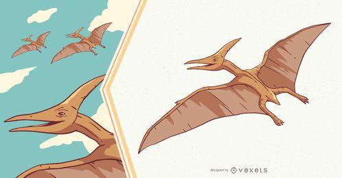 Ilustración de dinosaurio Pteranodon