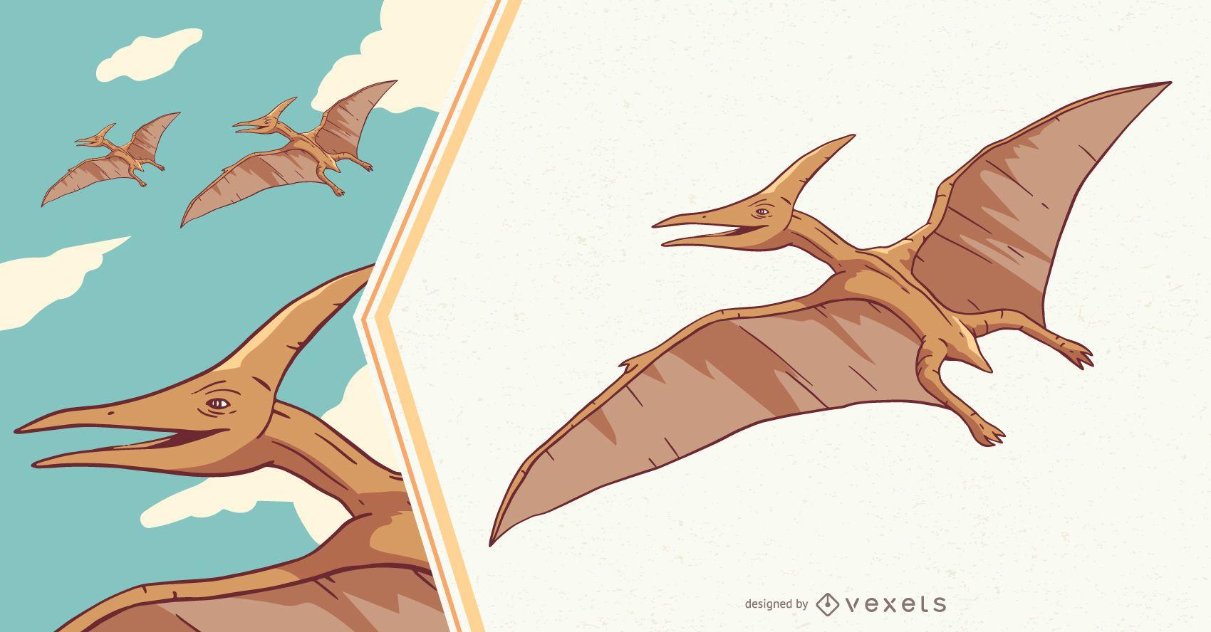 Ilustração do dinossauro Pteranodon