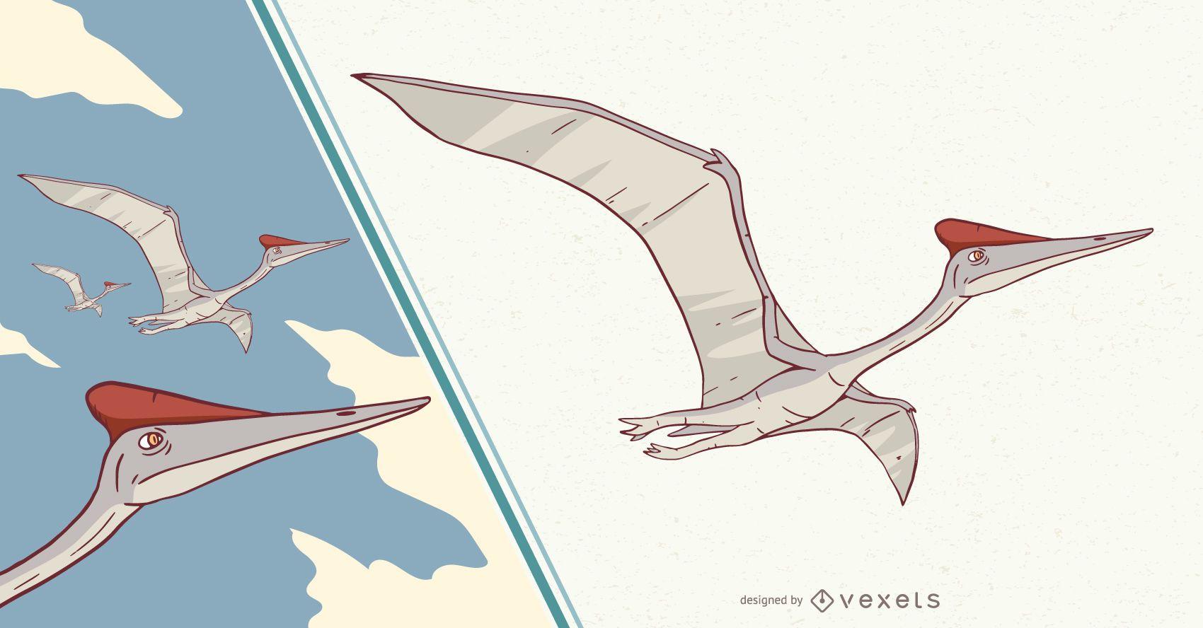 Ilustração de dinossauro pterodáctilo