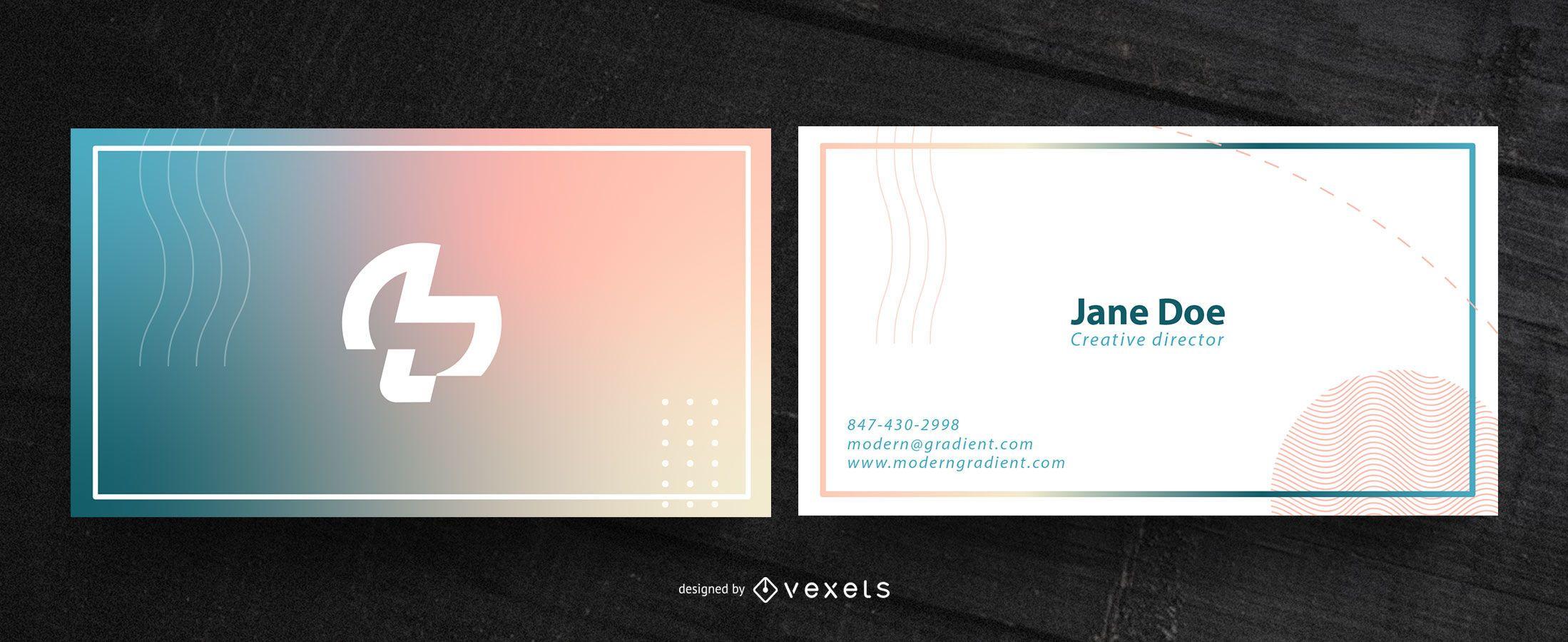 Design de cartão de visita gradiente