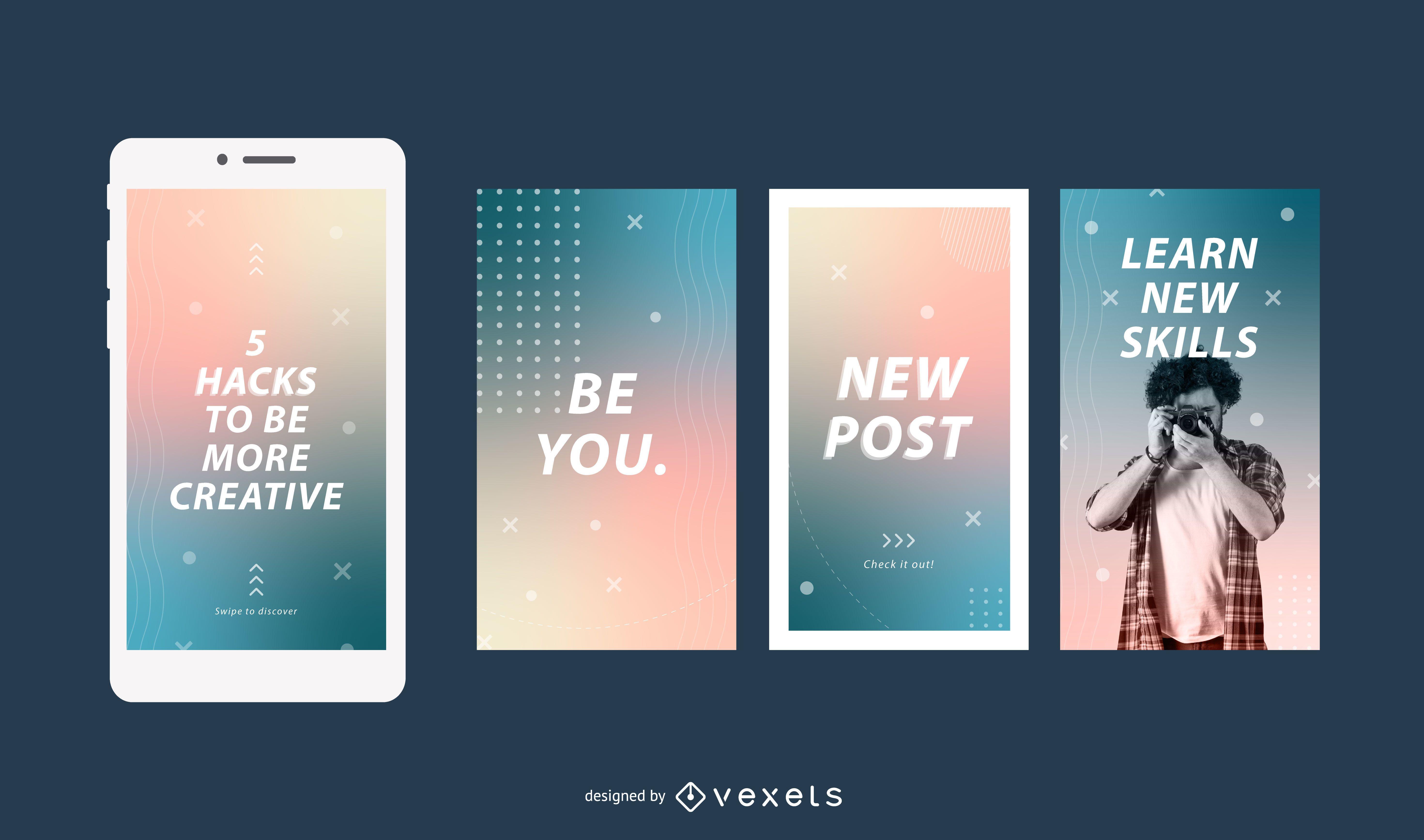 Conjunto de historias de redes sociales gradiente