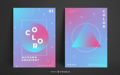 Modelo de cartaz gradiente geométrico