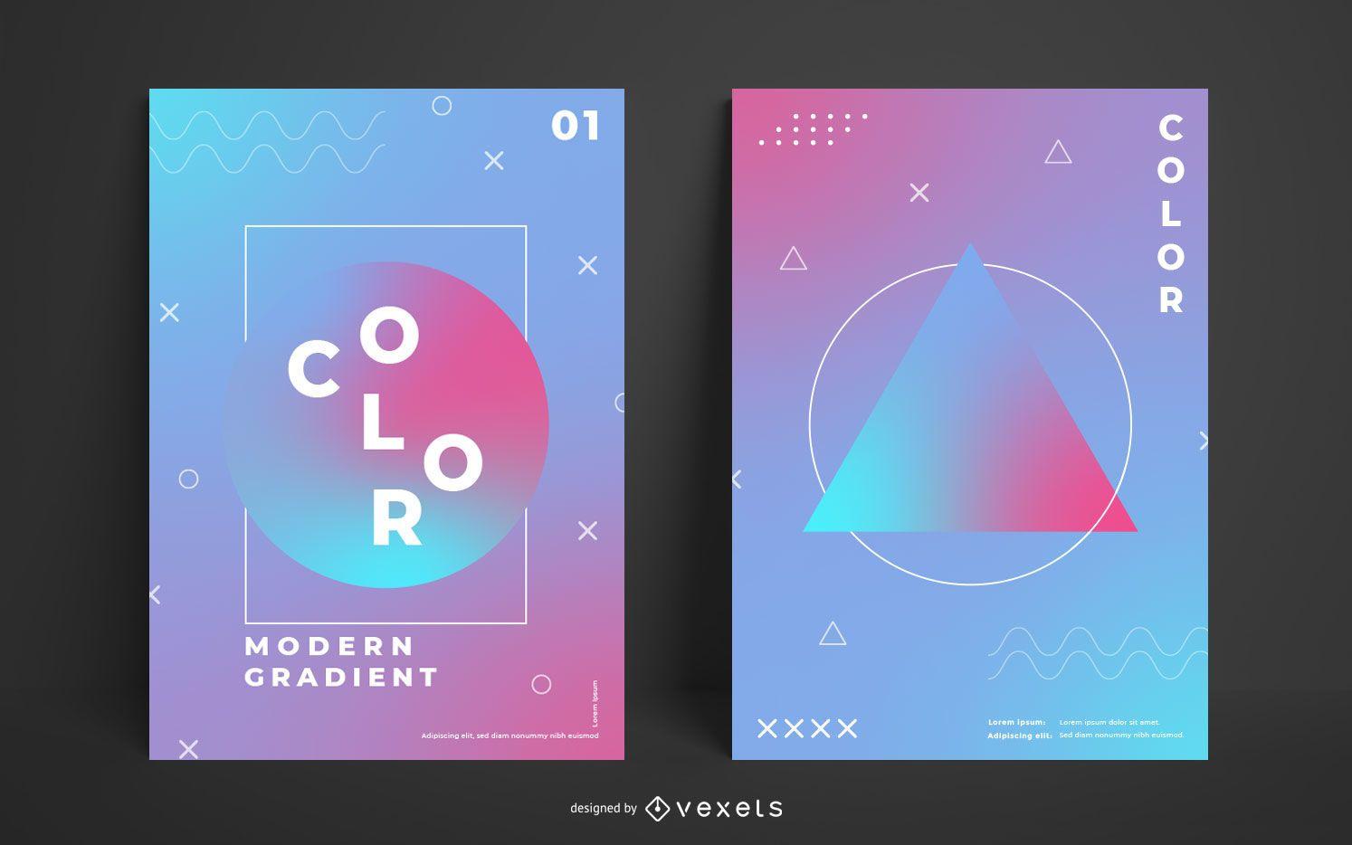 Plantilla de póster degradado geométrico