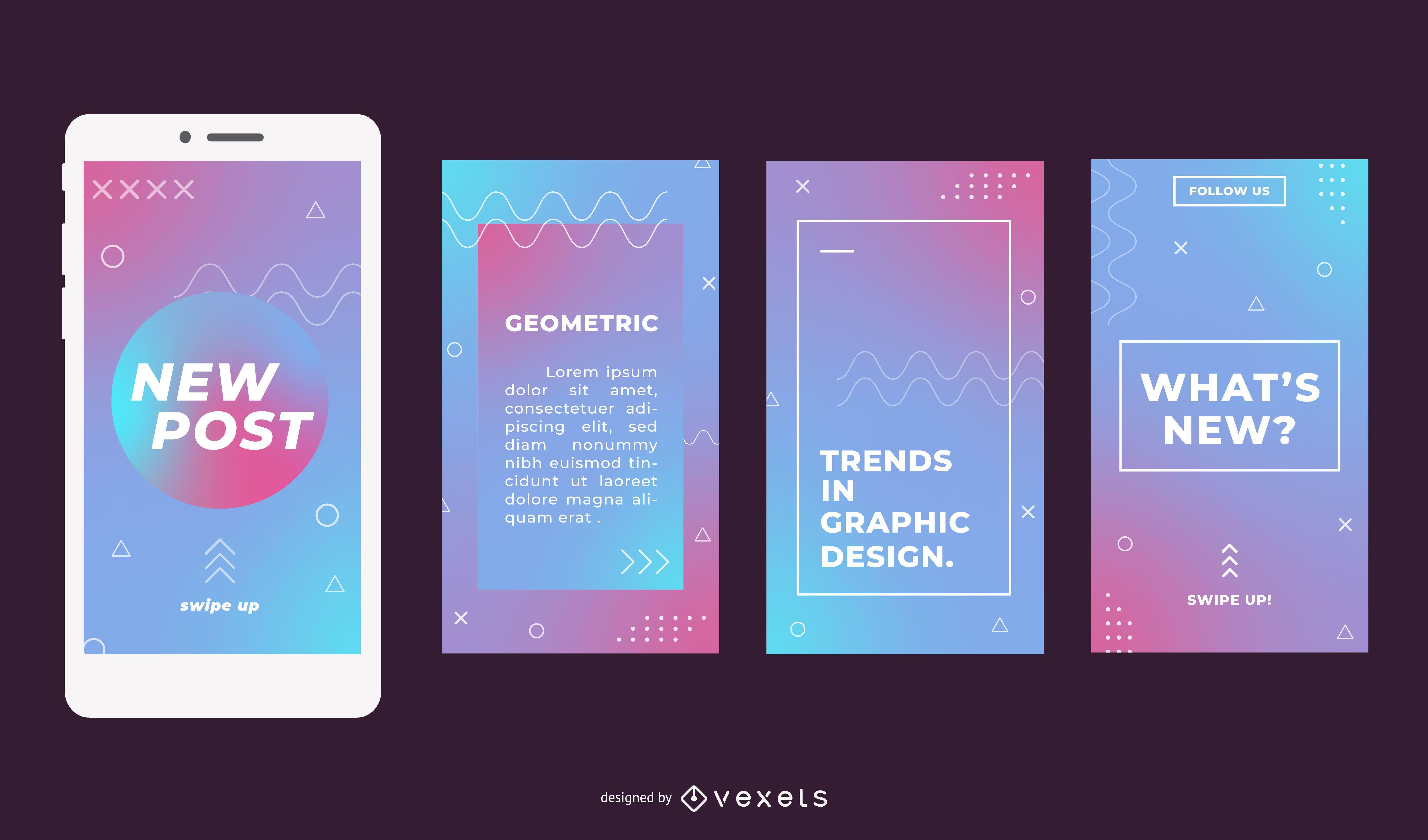 Geometric gradient social media stories