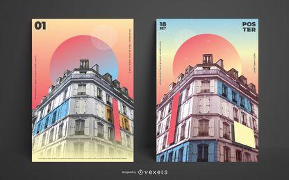 Plantilla de póster de edificio abstracto degradado