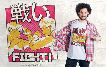 Anime fight t-shirt design