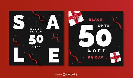 Black friday editable banner set
