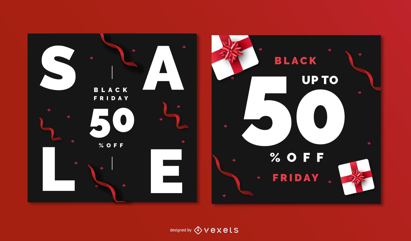 Conjunto de banners editables de viernes negro