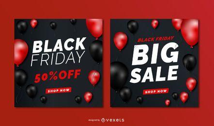 Banners de balões de venda sexta-feira negra