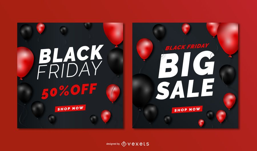 Black friday sale balloons banners