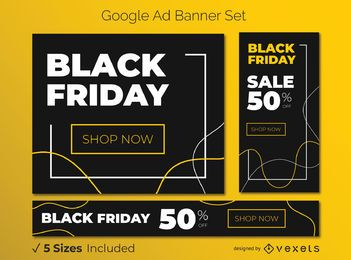Conjunto de banner preto sexta-feira amarelo Google Ads
