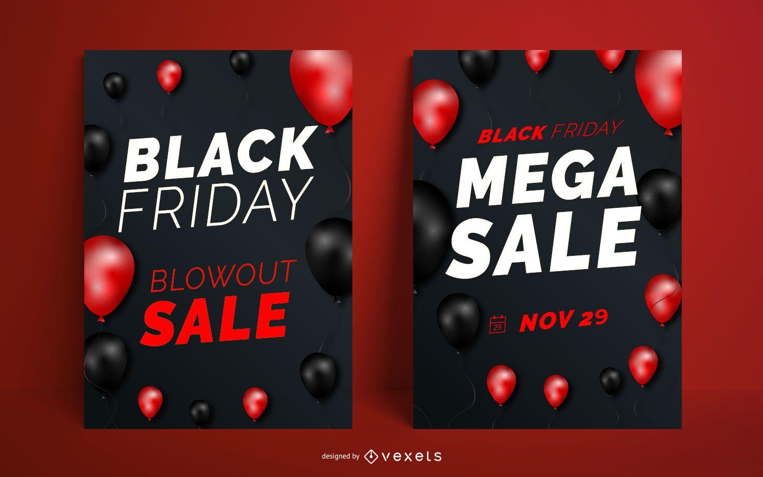 Conjunto de diseño de carteles de venta de viernes negro