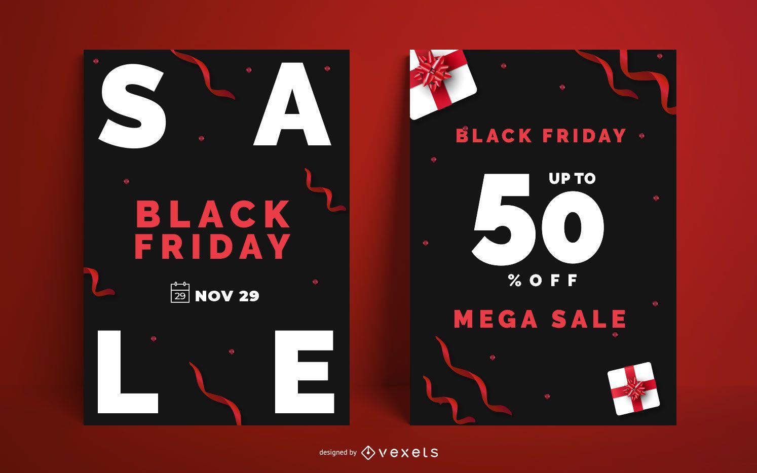 Paquete de diseño de carteles de Black Friday