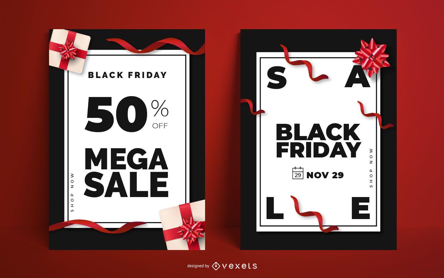 Conjunto de carteles editables de venta de viernes negro
