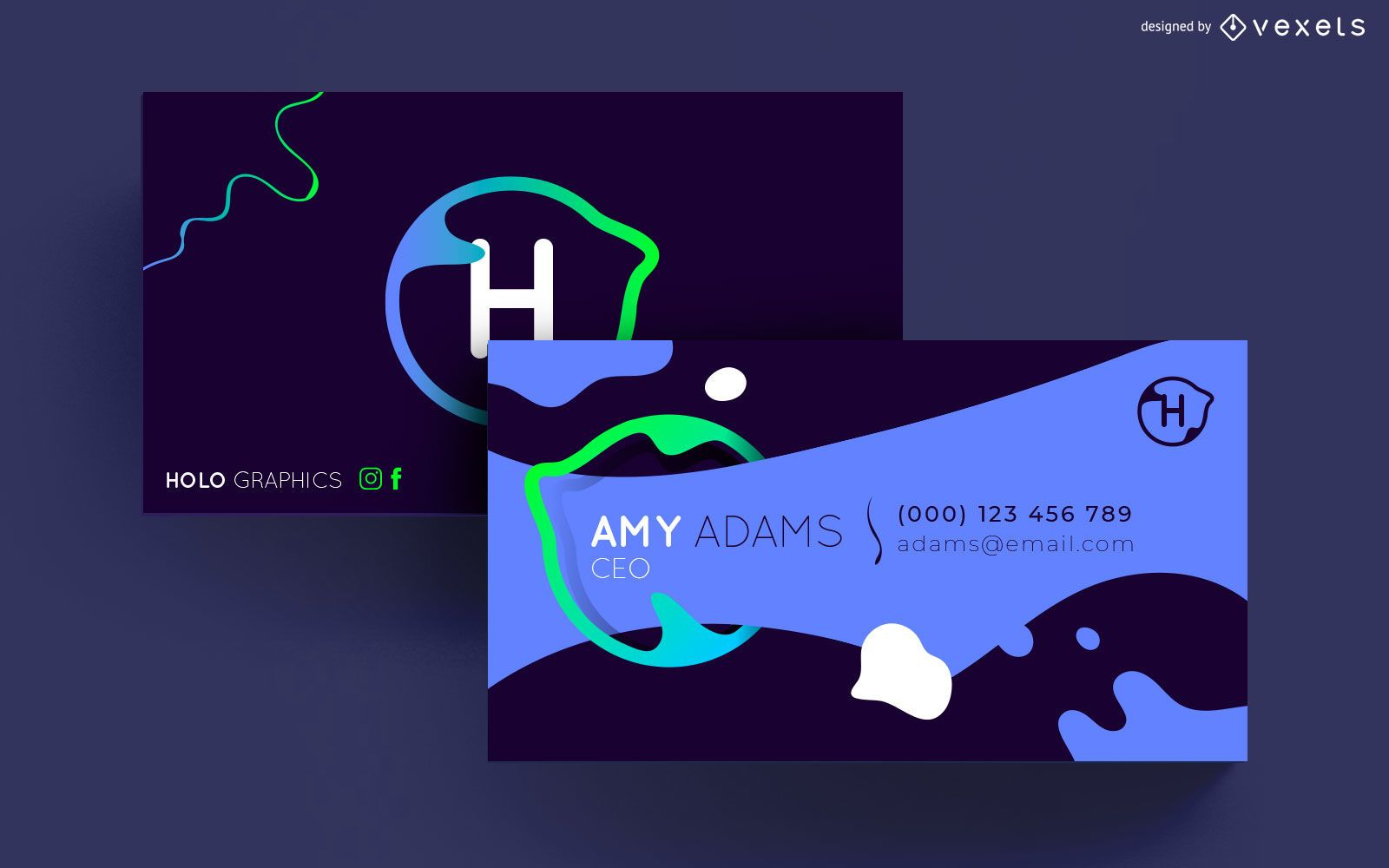 Abstract liquid shapes business card