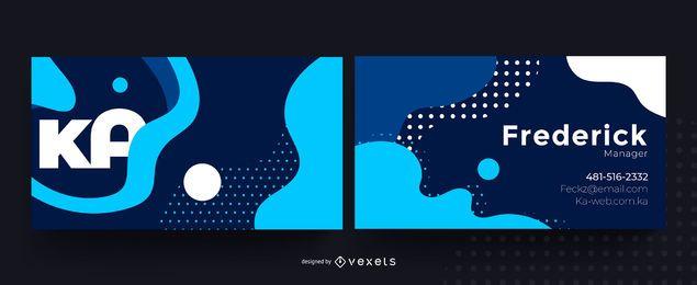 Diseño abstracto azul tarjeta de visita