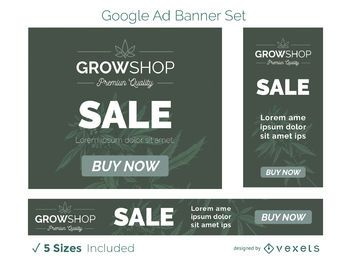 Conjunto de banners publicitarios de grow shop