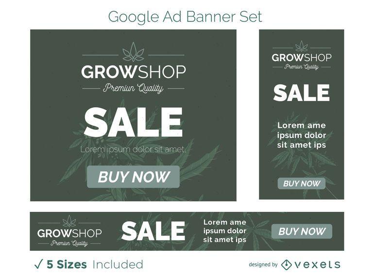 Conjunto de banners de anuncios de Grow Shop