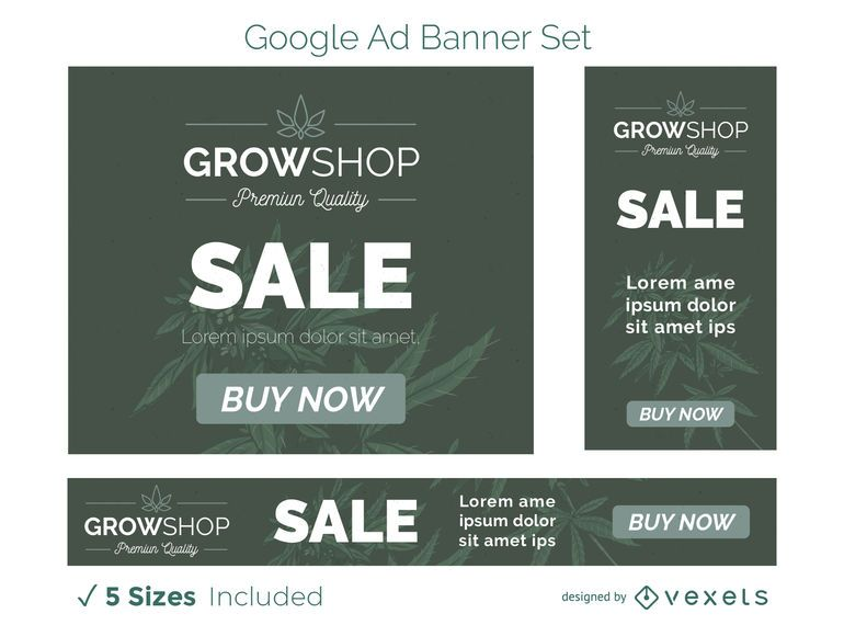 Grow shop ad banner set