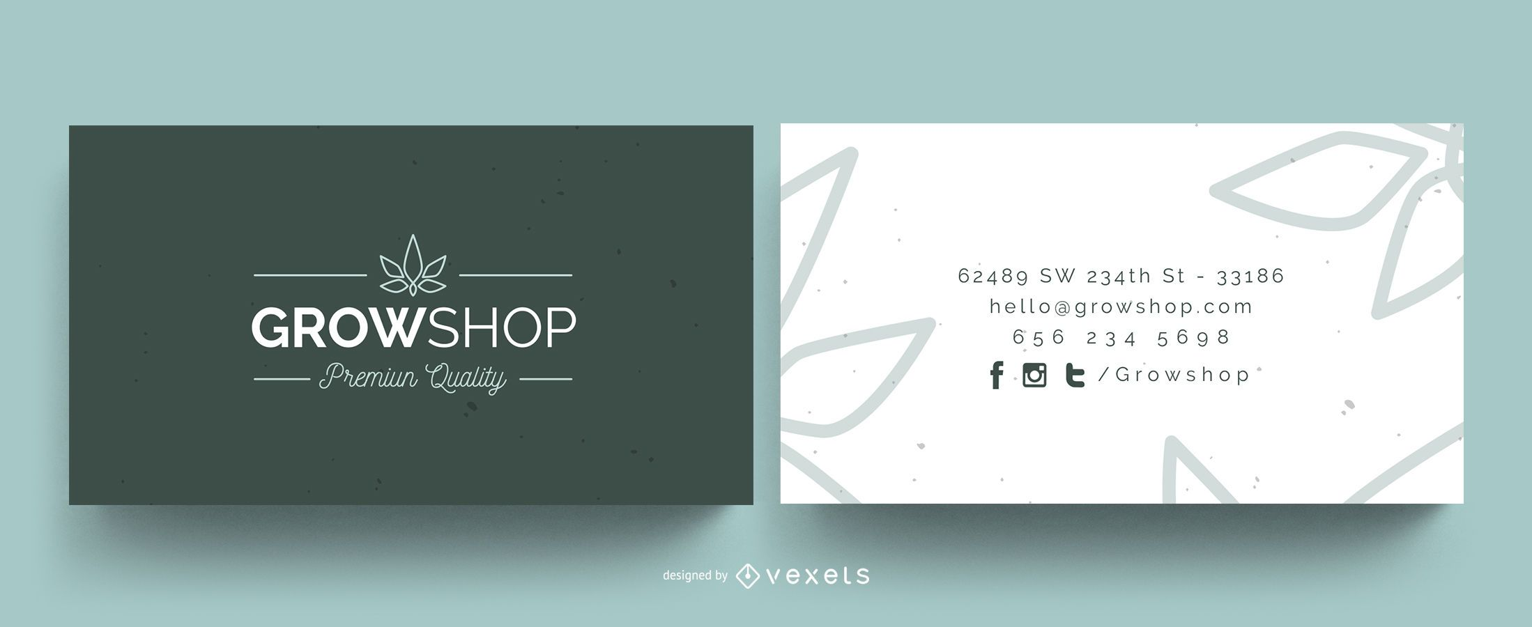 Grow shop business card