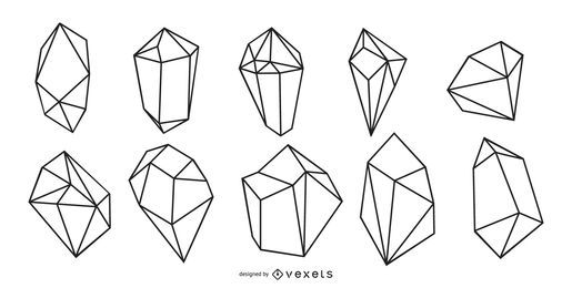 Crystals line vector set