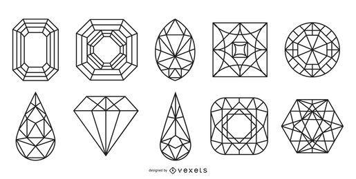 Conjunto de joias e gemas