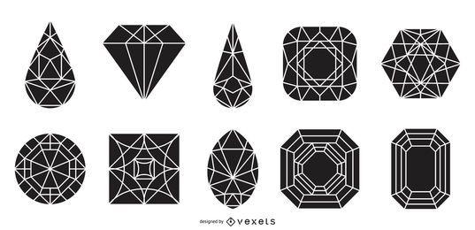 Conjunto de silhueta de joia e gema