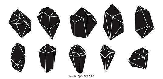 Pacote de silhueta de cristais
