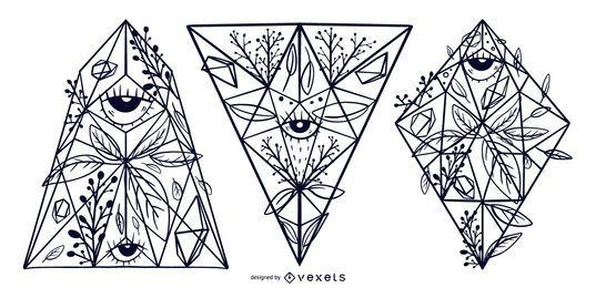 Conjunto de design de ilustração de cristal floral