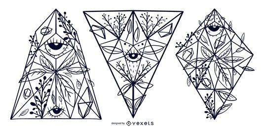 Floral Crystal Illustration Design Set