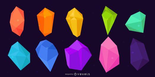 Colección colorida del diseño de la gema