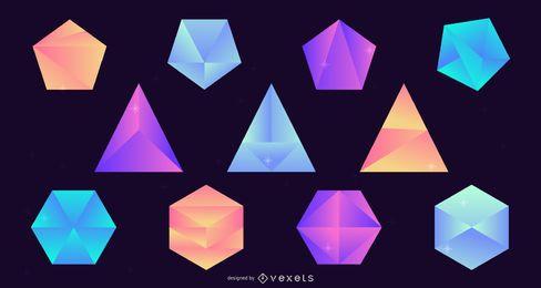 Conjunto de design gradiente de pedras preciosas