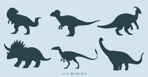 Conjunto de design de silhueta de dinossauro