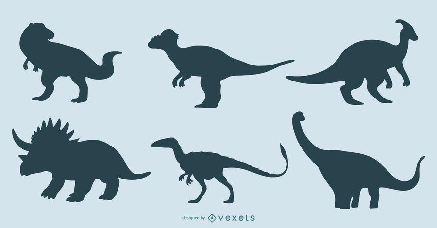 Conjunto de diseño de silueta de dinosaurio