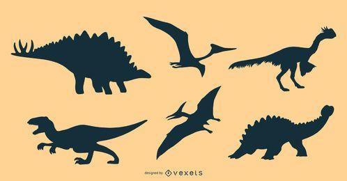 Pacote de design de silhueta de dinossauros