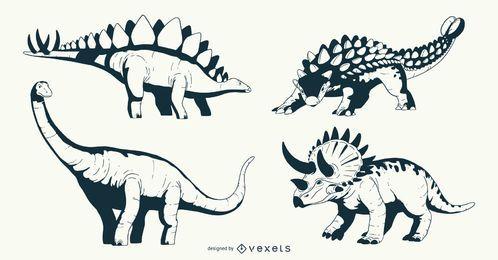 Paquete de diseño de ilustración de dinosaurio