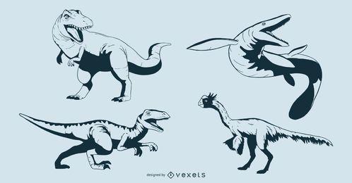 Conjunto de design de dinossauro cretáceo