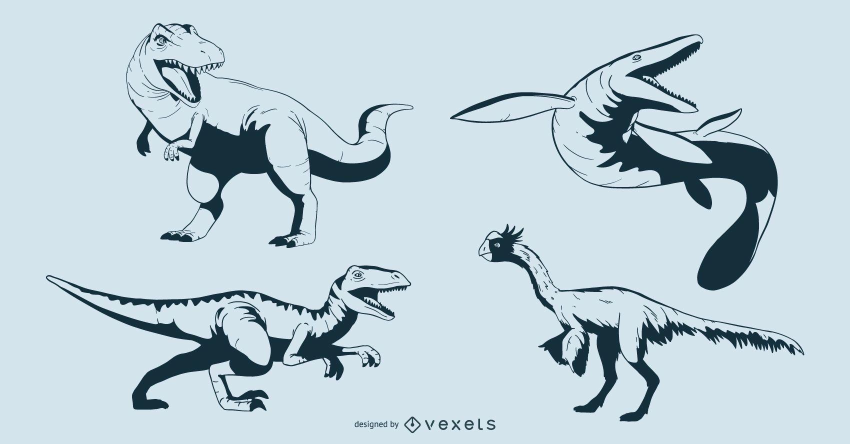 Conjunto de diseño de dinosaurio cretáceo