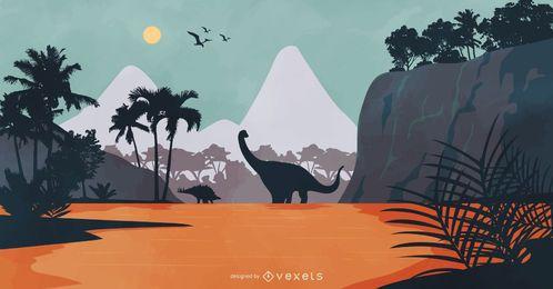 Ilustração de natureza paisagem dinossauro