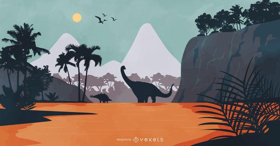 Ilustración de naturaleza de paisaje de dinosaurio
